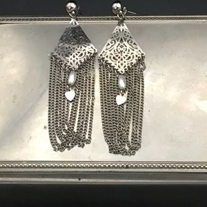 Vintage Jewelry - VTG Sterling Silver earrings w pearls & tiny 💜s